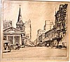 Tom Seymour, etching, 'King Street, Sydney',
