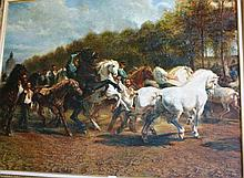 Artist unknown, oil on board, 'To the horse fair'