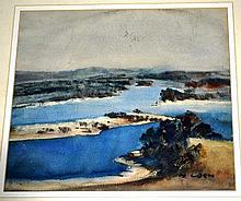 Margaret Coen, watercolour, river estuary view,