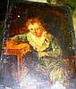 Artist unknown, antique oil on board, portrait of