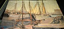 Artist unknown, oil on card, old sailing ships at