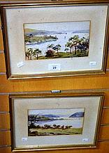 Artist unknown, pair of watercolours, each