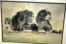 Herbert Reginald Gallop, watercolour, rural farm