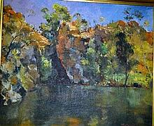 Denes de Holesch, oil on board, outback waterhole,