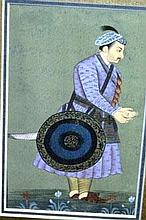 Vintage Persian painting of a Prince, 14 x 8.5cm,