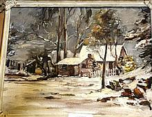 Artist unknown, oil on board, log cabin in the