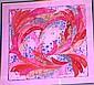 Susi screenprint on silk, gum leaves, signed lower
