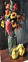Bauer Karoly watercolour, still life with flowers