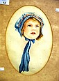 H Wallace watercolour, portrait of a young girl,