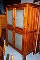 Tall rustic pine meat safe 4 door with zinc gauze
