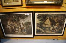 2 x antique hand coloured engravings incl. 'The Door of the Village Inn' after George Morland, published 1786 & 'Rustic Hours Evening' published 1800, both hand coloured, glass AF to one, largest 45 x 58cm