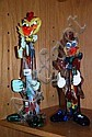 2 Italian studio glass clown figurines, multi
