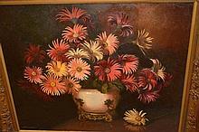 Albert J Sherman, oil on canvas, still life,