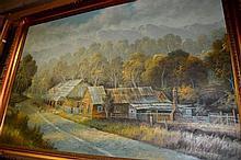 B. Morton, oil on board, outback slab building,