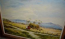 H. Kobald, oil on board, landscape scene, near