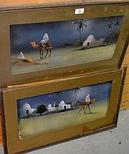 Pair of early paintings on velvet of desert scenes