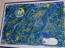 Charles Blackman, coloured screenprint 'Moonlight'
