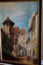 Artists unknown medieval European street scene,