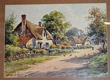 Harold Foster watercolour of an English thatched