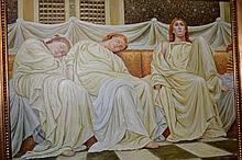 Artist unknown, large scale oil on canvas, 3 robed