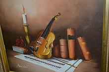 Frank Lean? oil on canvas, still life of musical
