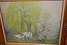 Oil on canvas, swans in a river setting ;Lakeside