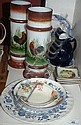 Various plates, bowls, jug etc plus a pair of hand