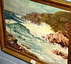 Artist unknown oil on board coastal seascape with