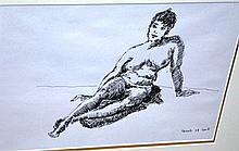 Judy Cassab pen & ink 'Seated nude' signed & dated