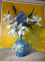 Margaret O'Connor oil on canvas board 'Iris & a