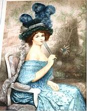 Portrait of a young woman with blue dress &