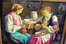 Karoly Krusnyak (Hungary), oil on canvas, interior