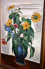 Ernst Fritsch oil on canvas, still life of flowers