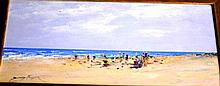 Donald Fraser oil on board, 'Impressionist beach