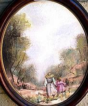 Anita Newman oil on board 'Walking little sister'