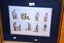 Antique engraving hand coloured, 'Cottagers'
