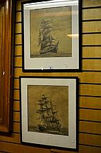 R. Wilkinson pair of pencil drawings each of a