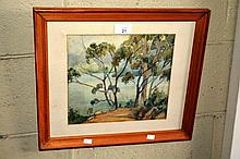 H. Marston watercolour, river scene through gum