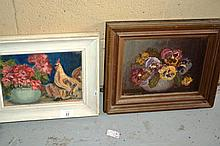 Griffin Cave, 2 oil paintings, each of still life,