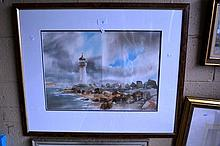James Kilni?, watercolour, a lighthouse on a