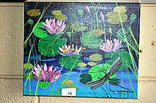 Colleen Parker oil on canvas, 'Waterlily study'