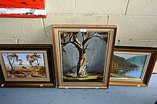 3 various Australian school oil paintings, outback