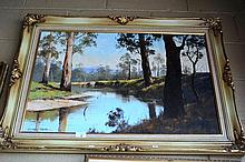 Stephen Franks oil on board, riverbank scene with
