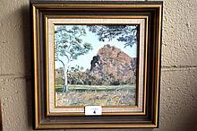 P. Doherty oil on board, bush scene, signed, 19 x