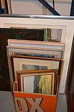 11 various artworks, 10 framed incl. paintings,