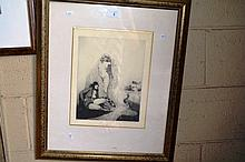 Norman Lindsay facsimile engraving, 'Peacocks',