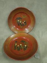 Pr Chinese Lacquered Plates