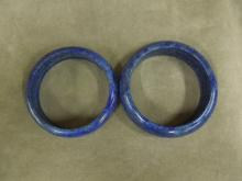 2 Chinese Lapis Bangle Bracelets