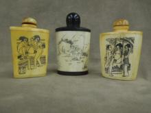 3 Chinese Bone Snuff Bottles