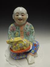 Chinese Famille Verte Porcelain Child Buddha